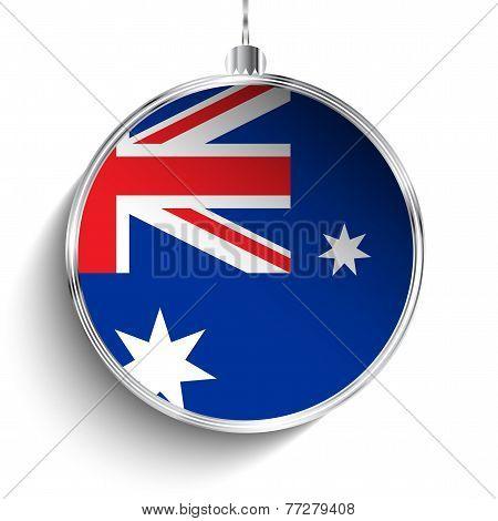 Merry Christmas Silver Ball With Flag Australia