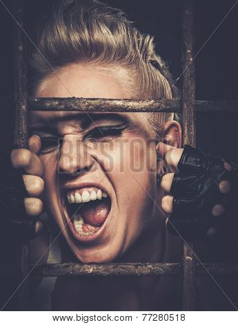 Troubled teenager girl behind bars poster