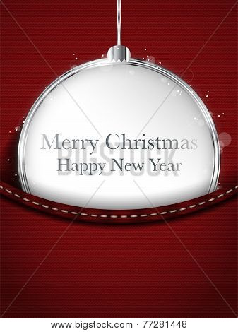 Merry Christmas Happy New Year Ball Silver In Red Jeans Pocket