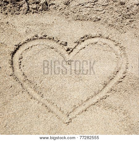 Heart Drawn In The Sand.