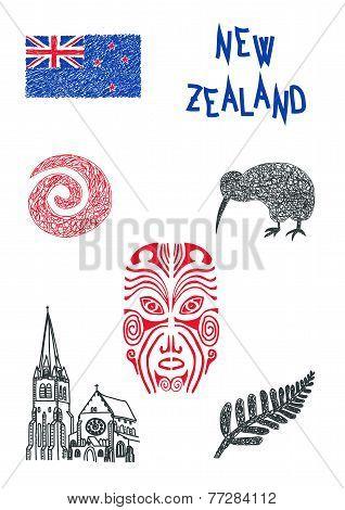 Illustration Of New Zealand Symbols