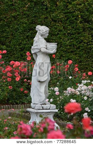 Rose Garden With Woman Sculpture