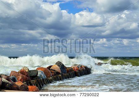 Baltic Sea And Breakwater
