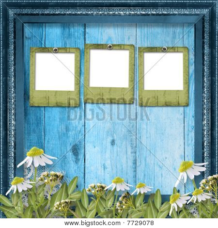 Grunge Slides With Bunch Of Flower On The Wooden Background