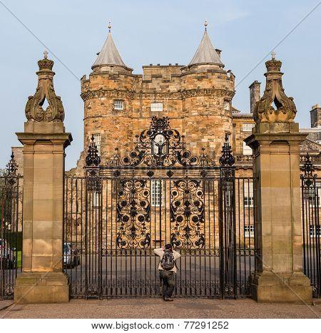 Entrance Gates To The Palace Of Holyroodhouse In Edinburgh, Scotland