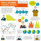 Public speaking presentation seminar conference broadcast infographic elements set vector illustration poster