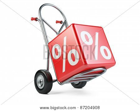 Concept Of Discount. Hand Truck With Percent Symbol