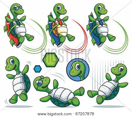 Cartoon Turtle Character Set