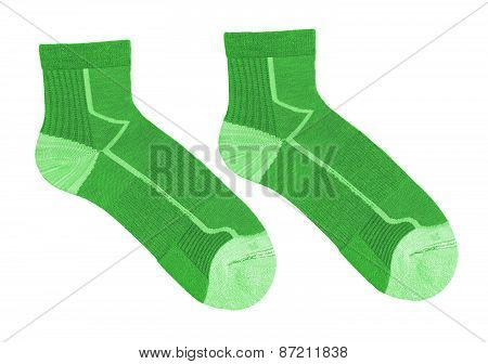 Green Striped Socks Isolated On White