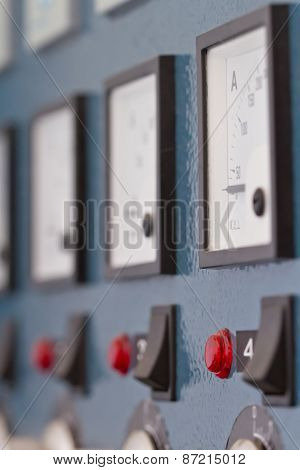 control panel with buttons and devices