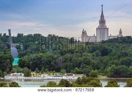 Moscow State University on Vorobyevy Hill, artificial ski slope and Moskva river in Moscow
