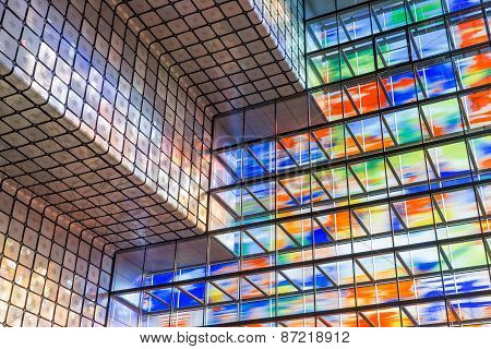 Interior Modern Building With Colorful Glass Wal
