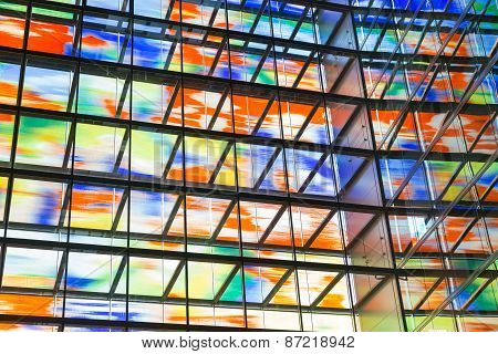 Interior Modern Building With Colorful Glass Wall