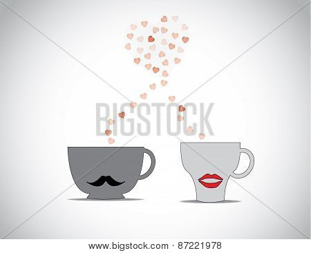 Two Coffee Cups With Black Mustache & Red Lips With Red Flying Hearts Making A Big Love Shape In A B