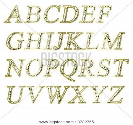 Alphabet on a white background with a gold texture poster
