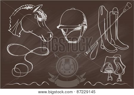 Silhouettes of horses and equipment player