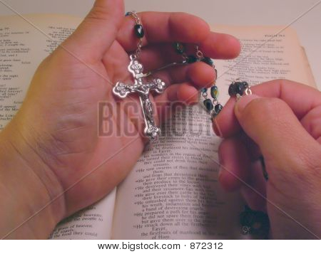 Hand Rosary And Bible
