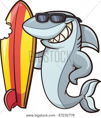Cartoon shark with a bitten surfboard. Vector clip art illustration with simple gradients. All in a single layer.