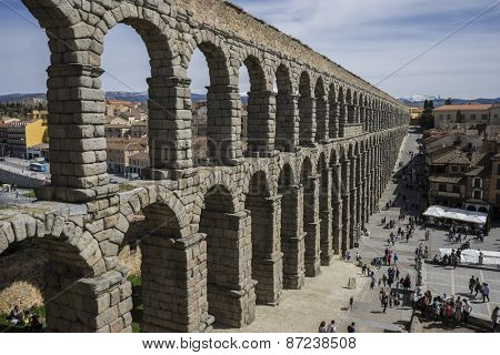 Tourism, Roman aqueduct of segovia. architectural monument declared patrimony of humanity and international interest by UNESCO. Spain