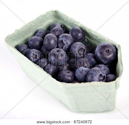Blueberries in box - white backhround