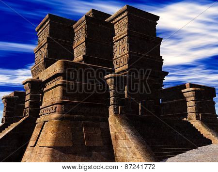 the stairs of Mayan temple