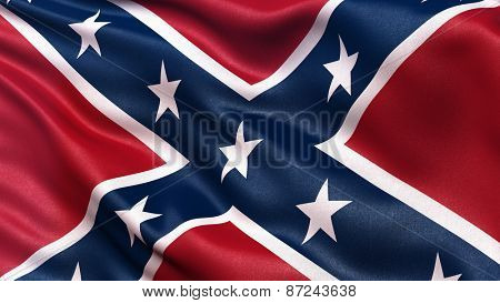 Confederate Battle Flag or St Andrews Cross waving in the wind.  poster