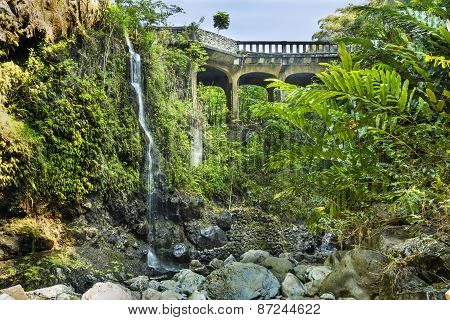 Hana Highway Bridge At Upper Waikuni Falls On Maui Island In Hawaii