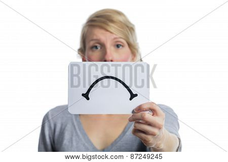 Unhappy Portrait Of Someone Holding A Sad Mood Board