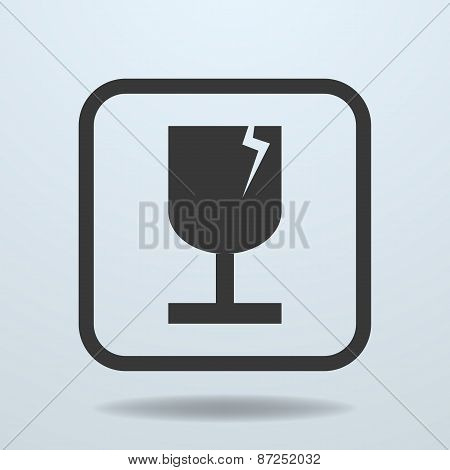 Icon of Fragile symbol sign. Vector Illustration poster