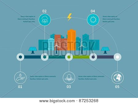 Ecology illustration infographic elements flat design. City landscape. Environmentally friendly house. Flat design vector concept illustration with icons of ecology, environment, eco friendly energy and green technology. Thin line icons poster