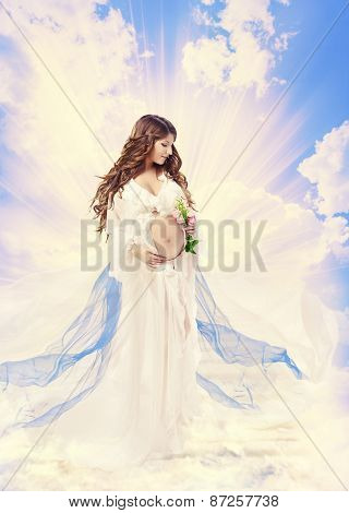 Pregnancy Maternity Beauty Concept, Pregnant Holy Woman, Saint Mother Over Light Sky Cloud