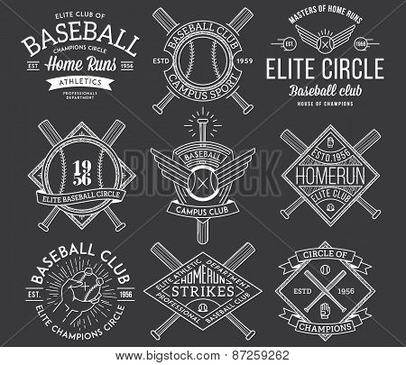 Baseball Badges And Crests Vol. 1 White On Black