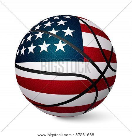 Basketball Ball Flag Of Usa Isolated On White Background