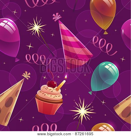 Happy Birthday seamless pattern. Vector illustration.