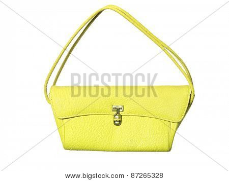 Yellow purse isolated on white background