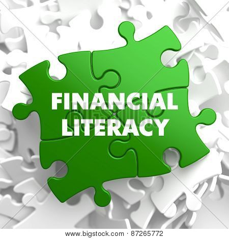 Financial Literacy on Green Puzzle.