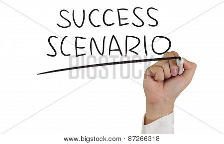 Business concept image of a hand holding marker and write Success Scenario isolated on white poster