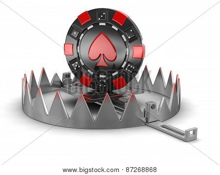 Trap and chip of casino (clipping path included)