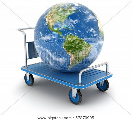 Handtruck with Globe (clipping path included)