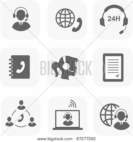 Call center servise set icons phone assistance and headset customer care