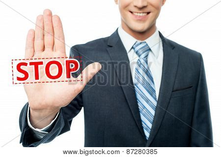Hand Raised With Stop Message