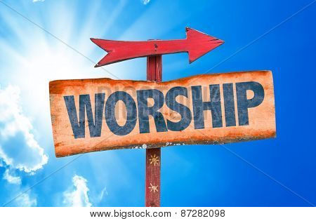 Worship sign with sky background poster