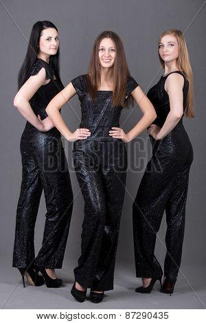 Three Girls In Evening Attire