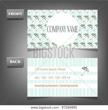 Romantic, vintage, business card - front, back with pattern - umbrellas, text, retro design