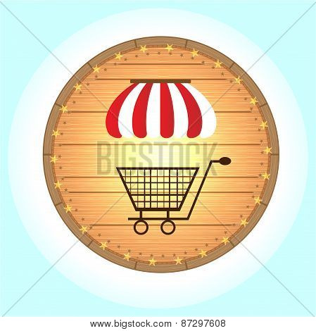 One, isolated, hanging, wooden, round sign - with striped awning, shopping trolley, yellow stars