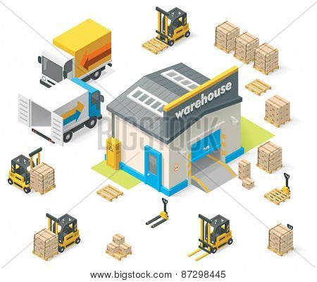 Vector isometric warehouse building icon