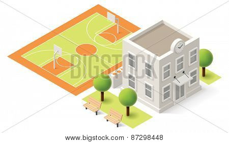 Vector isometric school or university building icon