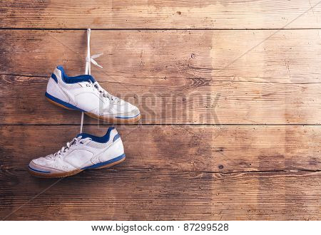 Sports shoes on the floor