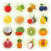 Set of different kinds of fruit icons. Vegetarian food icons. Collection of flat design icons presenting different kinds of fruits. Vector illustration of colorful and cute food icons. poster