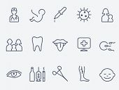 Medical and health care icons, thin line design poster